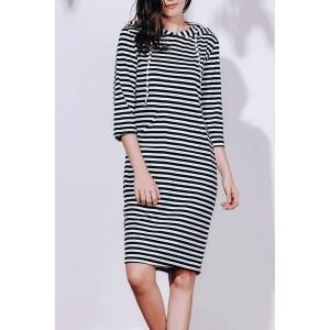 Striped Hoodie Sweatshirt Dress