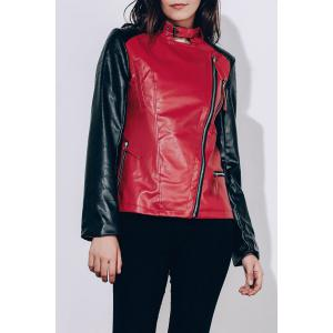 Women's Stylish Turn-Down Collar Pure Color Long Sleeve Splicing PU Jacket