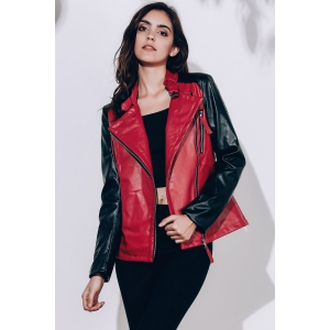 Women's Stylish Turn-Down Collar Pure Color Long Sleeve Splicing PU Jacket - WINE RED S