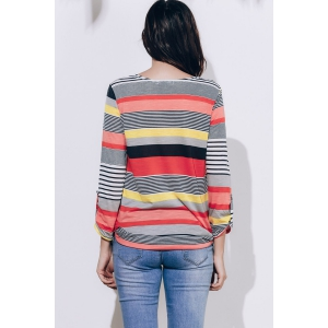Casual Loose-Fitting Striped T-Shirt - RED S