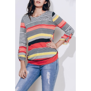Casual Loose-Fitting Striped T-Shirt - Red - S