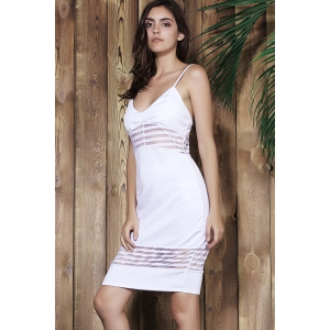 Spaghetti Strap Striped Bodycon Tank Dress -