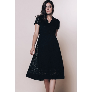 Vintage Style V-Neck Short Sleeve Black Lace Women's Dress - BLACK M