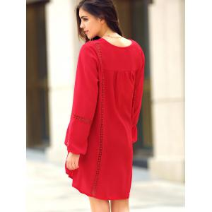 Chic Women's Long Sleeve Red Asymmetrical Blouse -