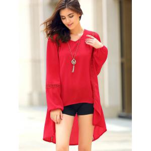 Chic Women's Long Sleeve Red Asymmetrical Blouse - RED S