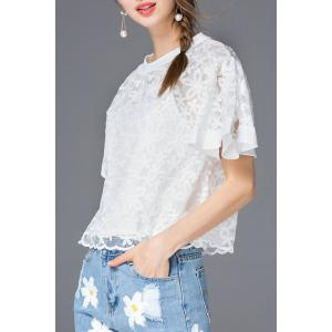 Embroidered Flare Sleeve T-Shirt -