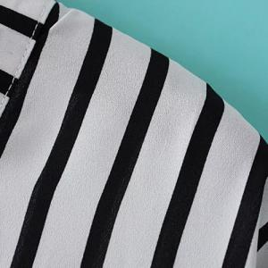 Vertical Striped V Neck Shirt - WHITE/BLACK M