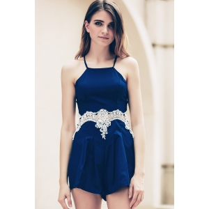 Lace Insert Strappy Zippered Romper -