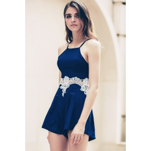 Lace Insert Strappy Zippered Romper - CADETBLUE S