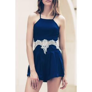 Lace Insert Strappy Zippered Romper