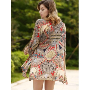 Chic Women's Ethnic Print Thin Cardigan