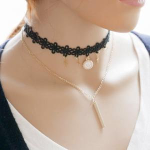 Vintage Layered Crown Cross Choker Necklace - GOLDEN