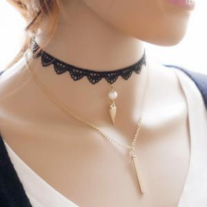 Layered Fake Pearl Bar Rivet Choker - BLACK