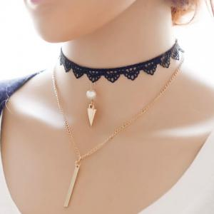 Layered Fake Pearl Bar Rivet Choker