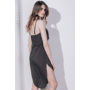 Sexy Spaghetti Strap Sleeveless Solid Color Asymmetrical Slit Dress For Women -