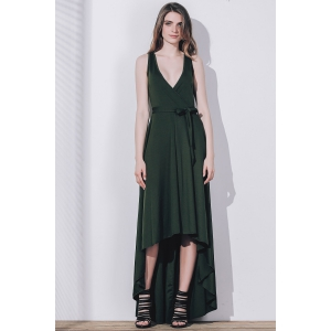 Plunge High Low Floor Length Formal Prom Dress - BLACKISH GREEN S