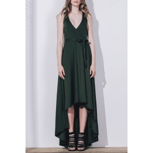 Plunge High Low Floor Length Formal Prom Dress - Blackish Green - Xl