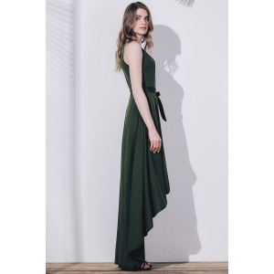 Plunge High Low Maxi Formal Prom Dress - BLACKISH GREEN S