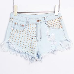 Street Style High Waist Hole Design Rivet Embellish Women's Denim Shorts -