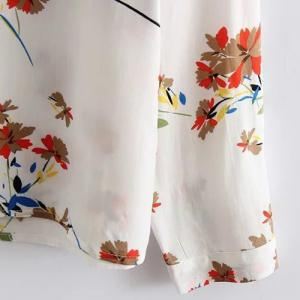Chic Stand Collar Long Sleeve Floral Print Women's Shirt -