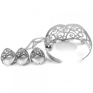 Hollow Out Geometric Bracelet With Ring - SILVER ONE-SIZE