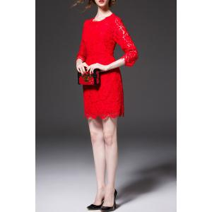 High Waist Sheath Lace Dress -