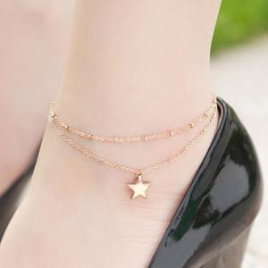 Stylish Multilayer Pentagram Pendant Anklet For Women -