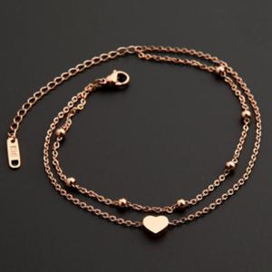 Stylish Multilayer Heart Anklet For Women - GOLDEN