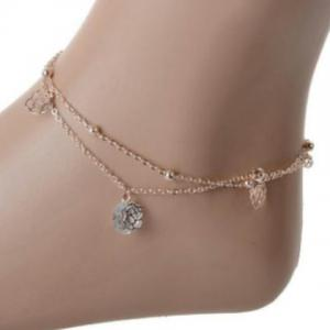 Stylish Multilayer Faux Crystal Flowers Anklet For Women -