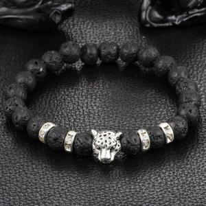 Frosted Buddha Beads Leopard Head Bracelet