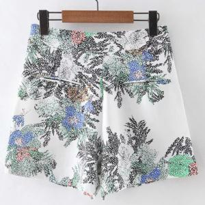 Lace Up Floral High Waist Shorts -