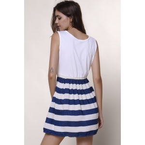 Fashionable Scoop Neck Sleeveless Spliced Striped Women's Dress - WHITE L