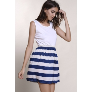 Fashionable Scoop Neck Sleeveless Spliced Striped Women's Dress - WHITE S