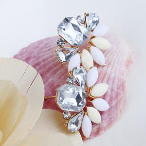 Pair of Geometric Faux Crystals Rhinestone Stud Earrings -