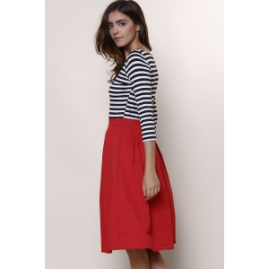 Graceful Round Neck 3/4 Sleeve Striped A-Line Women's Dress - RED M