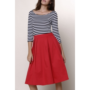 Graceful Round Neck 3/4 Sleeve Striped A-Line Women's Dress - Red - 2xl
