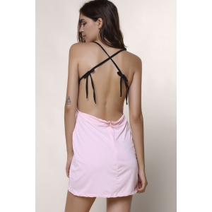 Backless Asymmetrical Skimpy Club Dress - BLACK XL