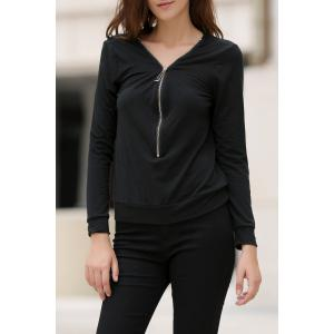 Fashionable Solid Color Alloy Zippered Long Sleeve Sweatshirt For Women - Black - S