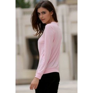 Fashionable Solid Color Alloy Zippered Long Sleeve Sweatshirt For Women - PINK S