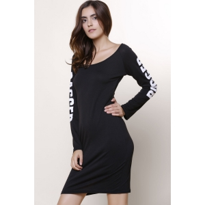 Sexy Low-Cut Scoop Neck Letter Printed Back Ripped Hollow Out Bodycon Dress For Women - BLACK L