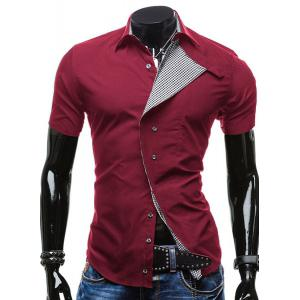 Turn-Down Collar Checked Lining Short Sleeve Shirt For Men - Red - L