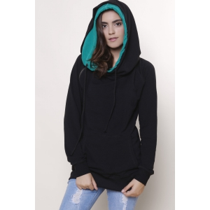 Casual Double-Face Hooded Skew Zippered Long Sleeve Pullover Hoodie For Women - GREEN S