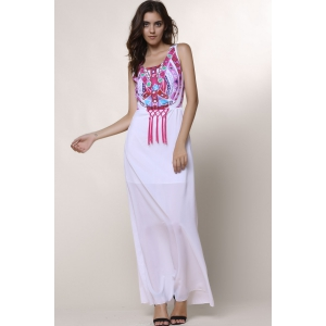 Ethnic Style Round Collar Sleeveless Printed Women's Dress - WHITE S