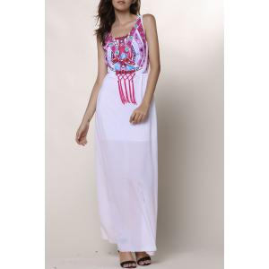 Ethnic Style Round Collar Sleeveless Printed Women's Dress