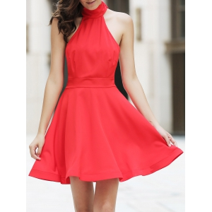 Chic Women's High Neck Backless Red Sleeveless Dress -