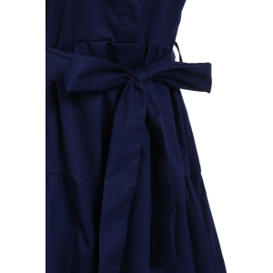 Women's Stylish Sleeveless Pure Color Belted Dress -