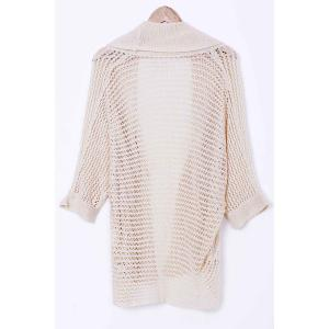 Stylish Collarless Long Sleeve Hollow Out Knitted Cover-Up For Women -