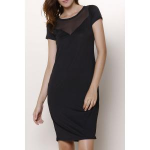 Chic Women's Short Sleeve Voile See-Through Dress