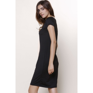 Chic Women's Short Sleeve Voile See-Through Dress - BLACK M