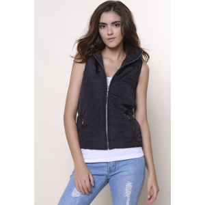 Slim Fit Zip Up Hooded Vest - BLACK S